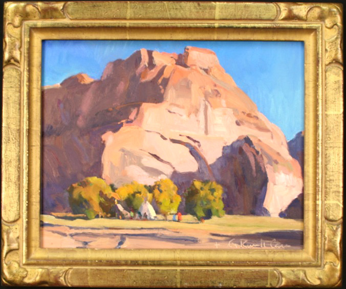 """G. Russell Case """"Camp at Big Rock"""" 8″x10″ Oil"""