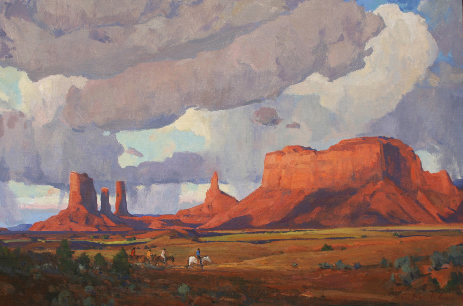 "(SOLD) G. Russell Case ""Dark Clouds, Monument Valley"" 16″x24″ Oil"