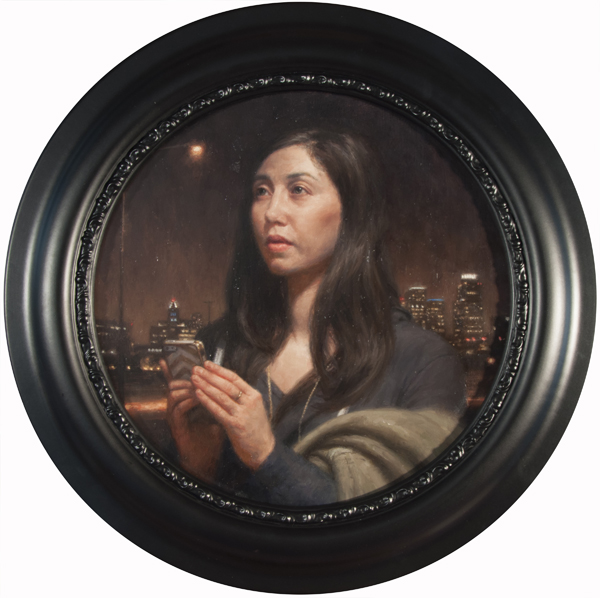 """Carl Dobsky """"iPrayer"""" (Portrait of a young woman) 12″ diameter Oil"""