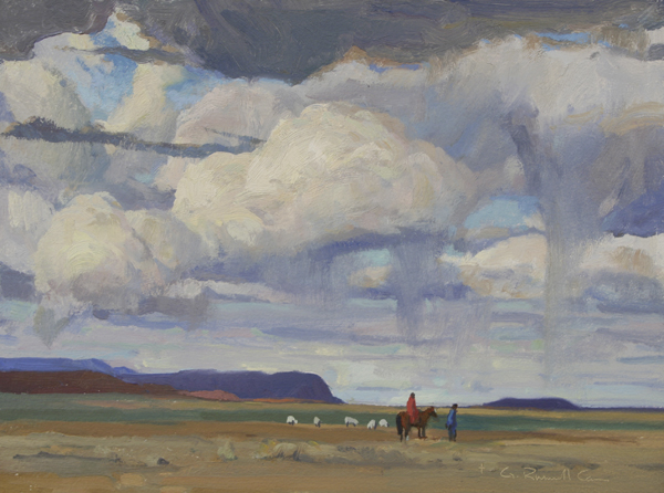 """(SOLD) G. Russell Case """"Navajo Sky"""" 9″x12″ Oil"""
