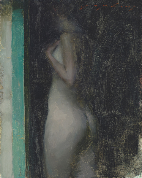 """(SOLD) Jeremy Lipking """"Green and Black"""" 10″x8″ Oil"""