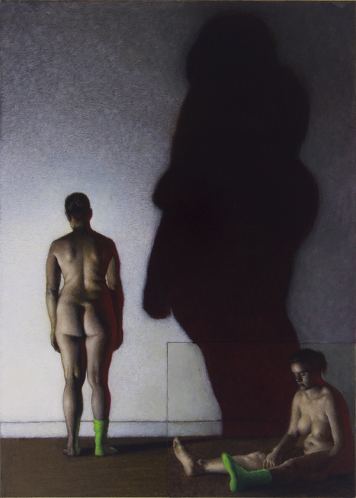"""Richard Morris""""Untitled (two figures and a cast shadow)"""" 11.25″x8.25″ Charcoal, Ink, and Acrylic on Paper"""