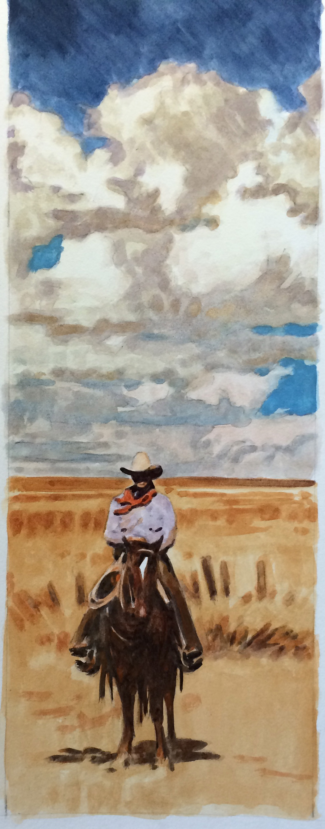 """(SOLD) Teal Blake """"West Texas Cowpuncher"""" 17″x5″ Watercolor"""