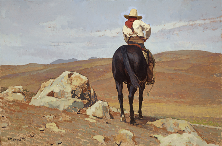 """(SOLD) Glenn Dean """"No Sign of His Cattle"""" 20″x30″ Oil"""
