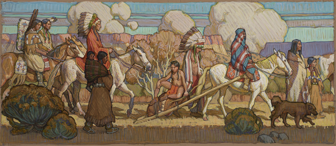 """(SOLD) Tim Solliday """"Migration"""" 12″x28″ Oil"""