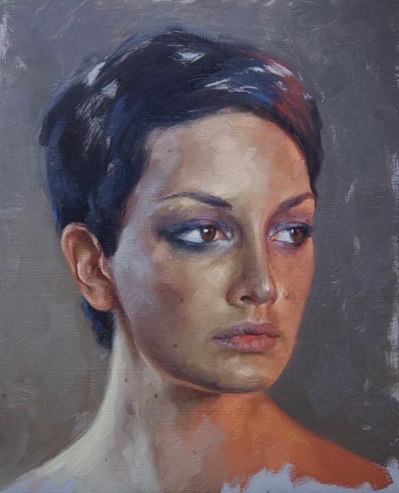 "Aaron Nagel ""Portrait Study of Julia"" 10″x8″ Oil"