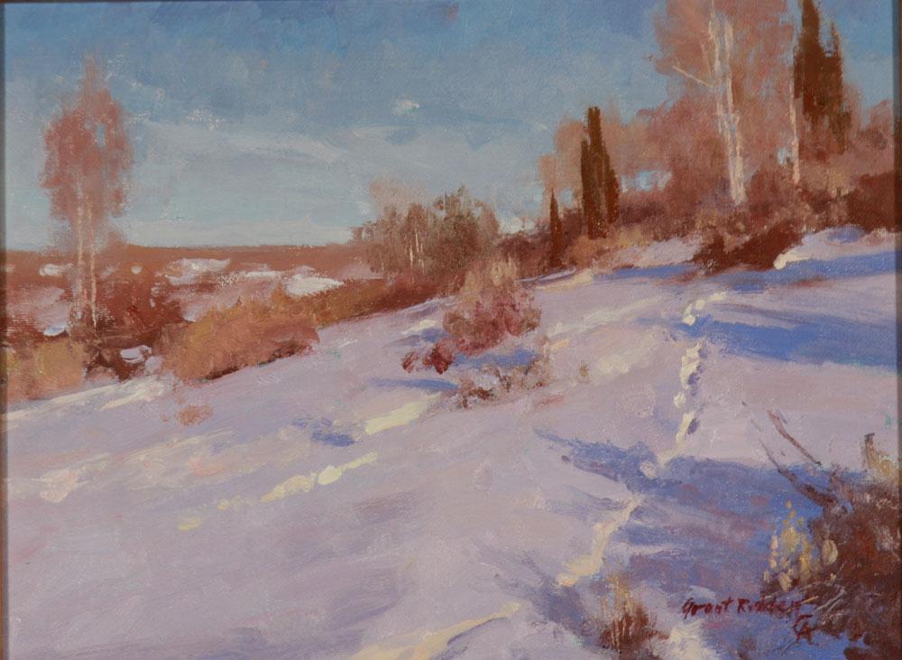 """Grant Redden """"December in Wyoming"""" 9″x12″ Oil"""