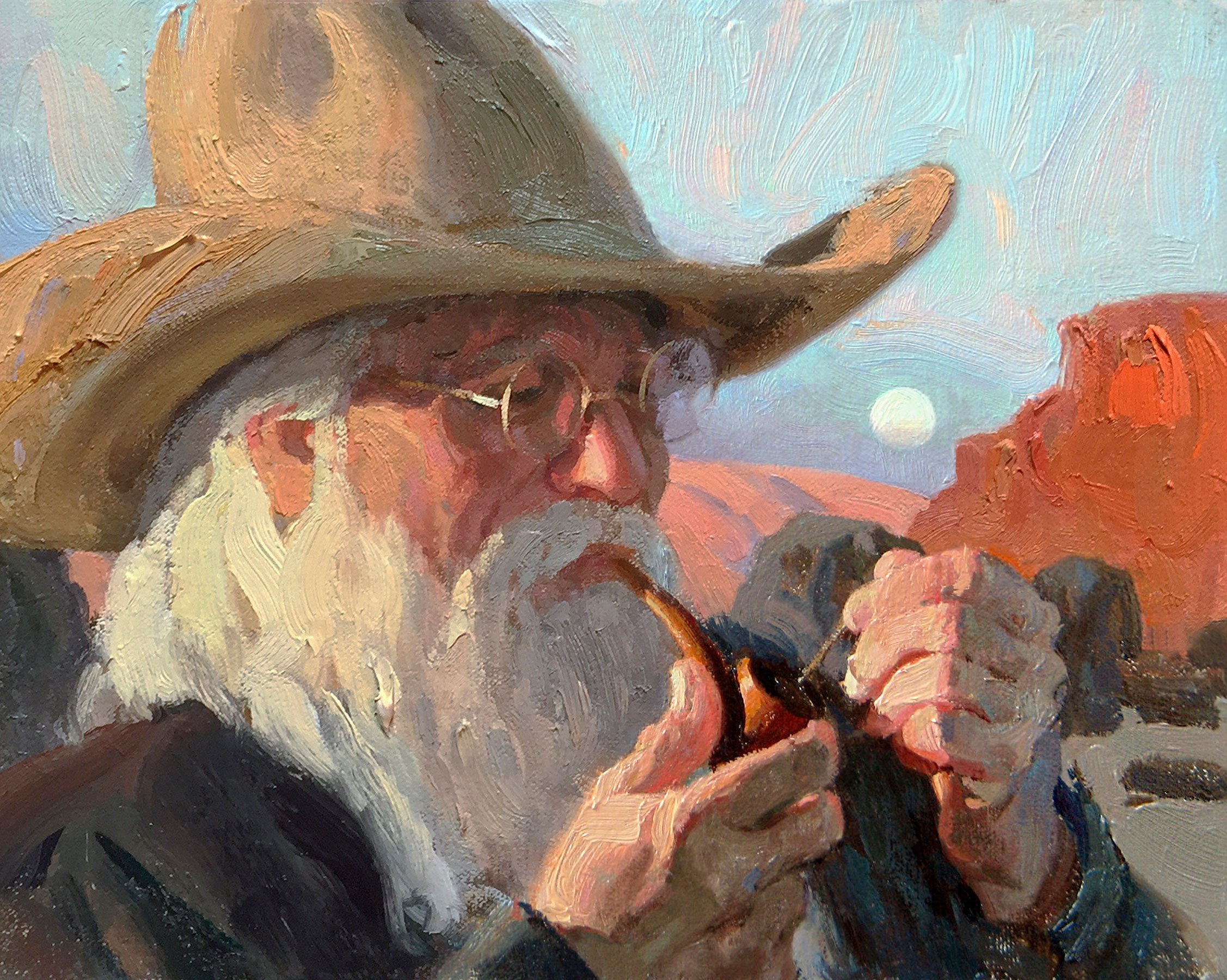 "(SOLD) Eric Bowman ""Evening Smoke"" 8″x10″ Oil"
