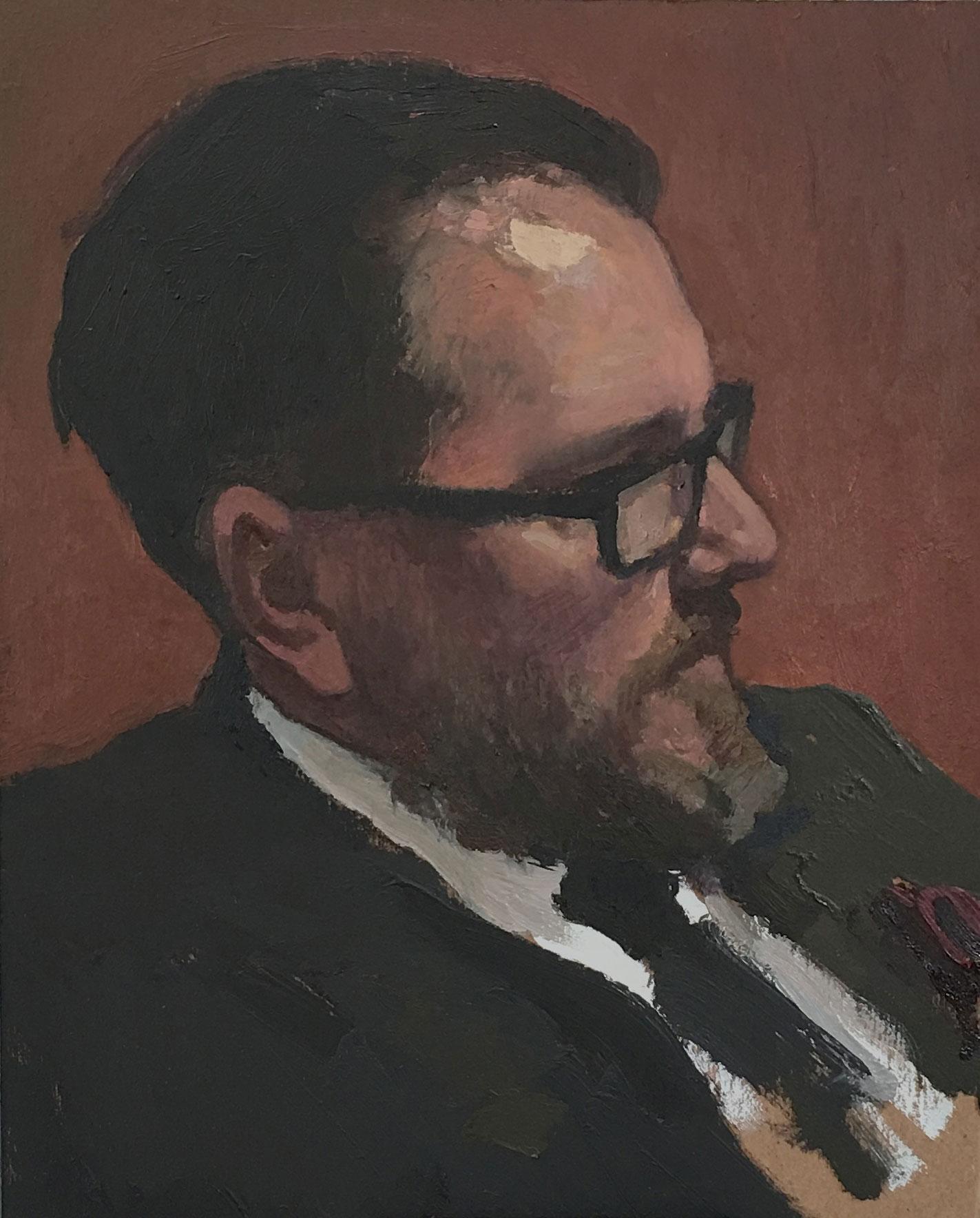 """(SOLD) Glenn Dean """"Portrait of Jeremy Lipking"""" 10″x8″ Oil"""