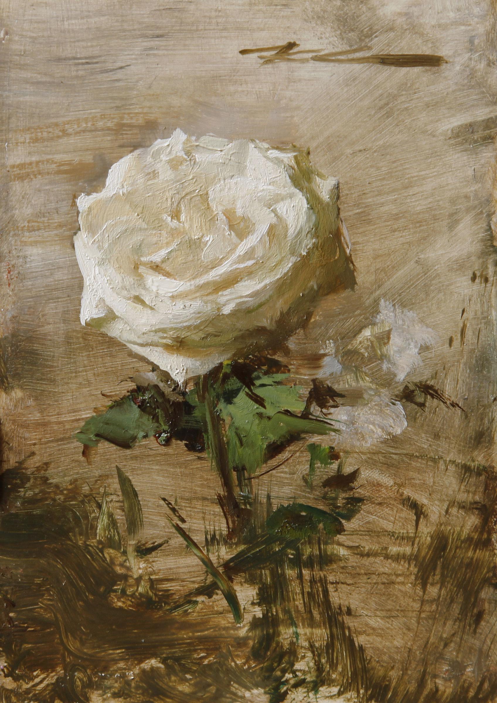 """(SOLD) Michael Klein """"Garden Rose"""" 6″x4″ Oil"""