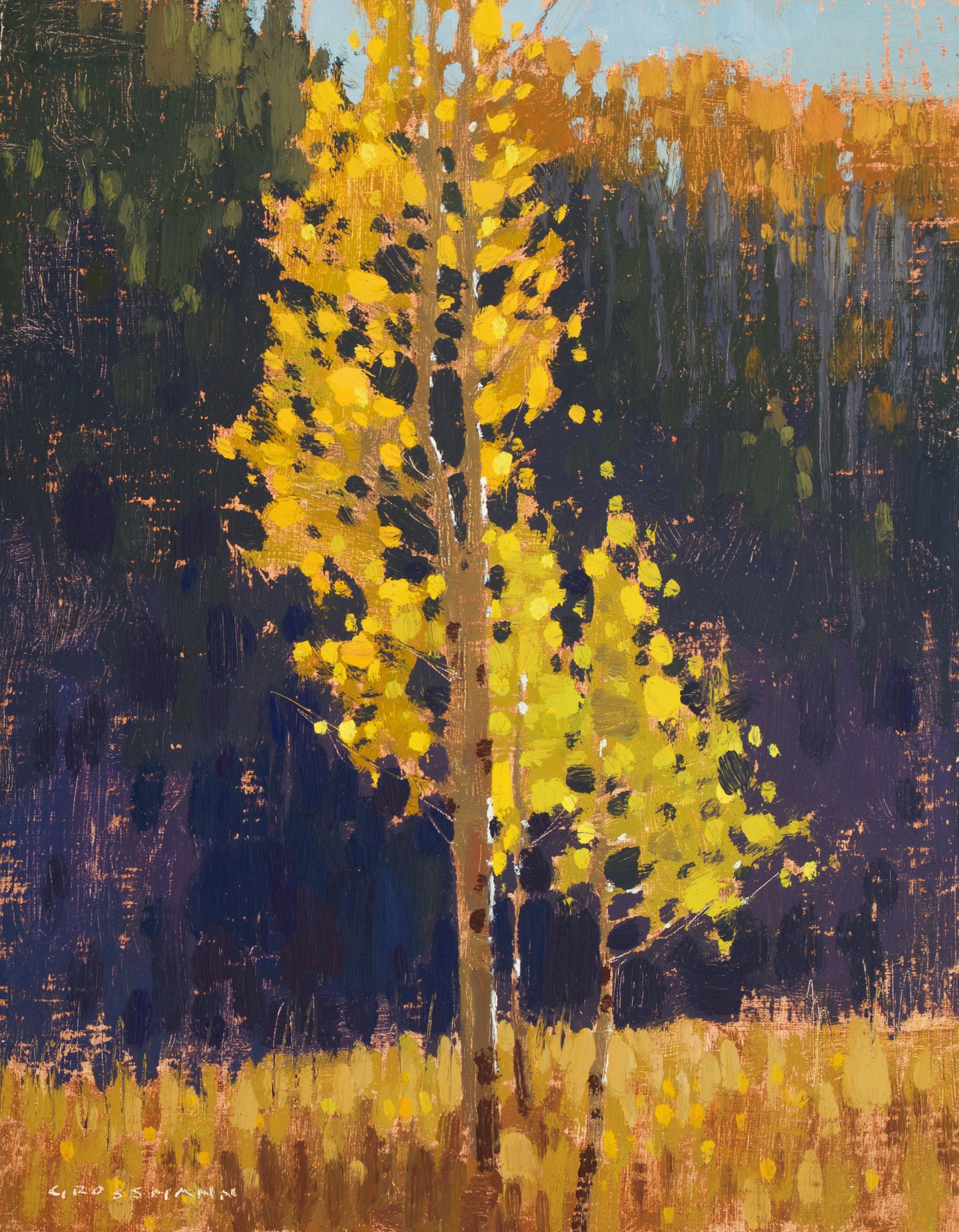 """(SOLD) David Grossmann """"Illuminated Autumn Leaves"""" 10″x8″ Oil"""