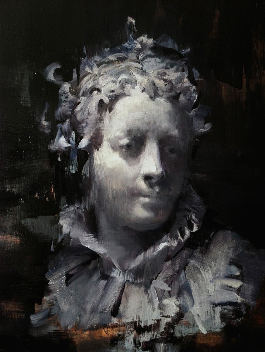 """Kim Cogan """"Study of a Head"""" 14″x11″ Oil"""