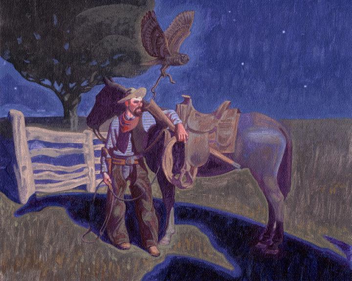 "Bryan Haynes ""Owl Nocturne"" 8″x10″ Oil"