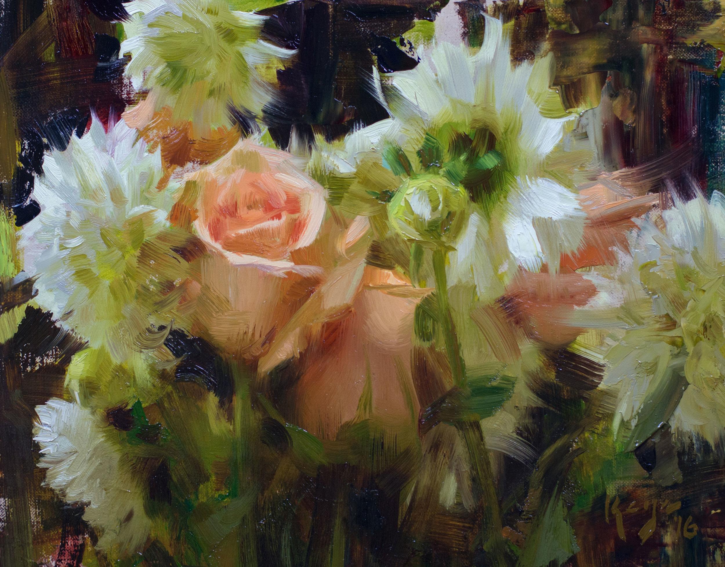 "(SOLD) Daniel Keys ""Peach Roses and White Dahlias"" 8″x10″ Oil"