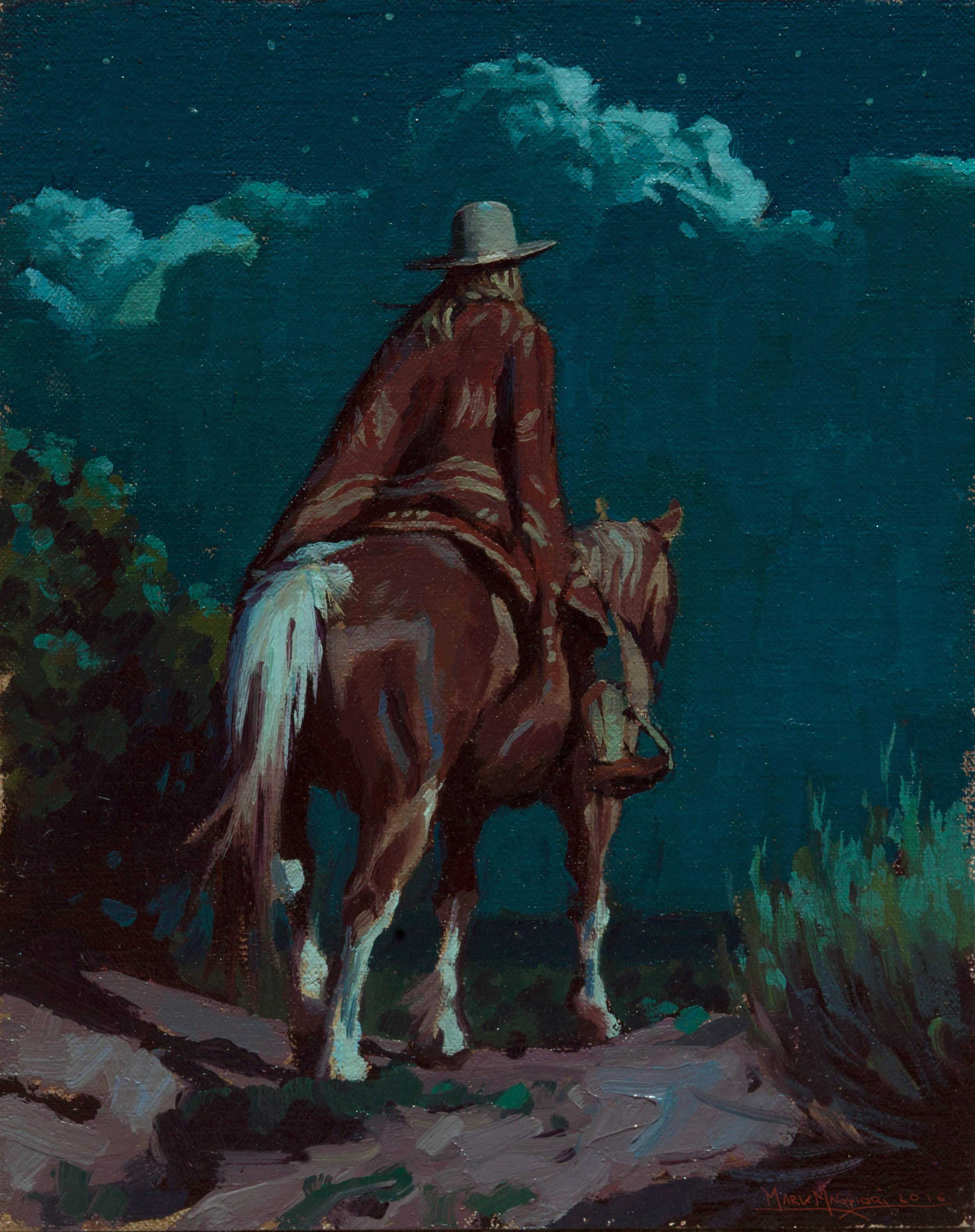 """(SOLD) Mark Maggiori """"Petecia Riding with a Blanket"""" 10″x8″ Oil"""