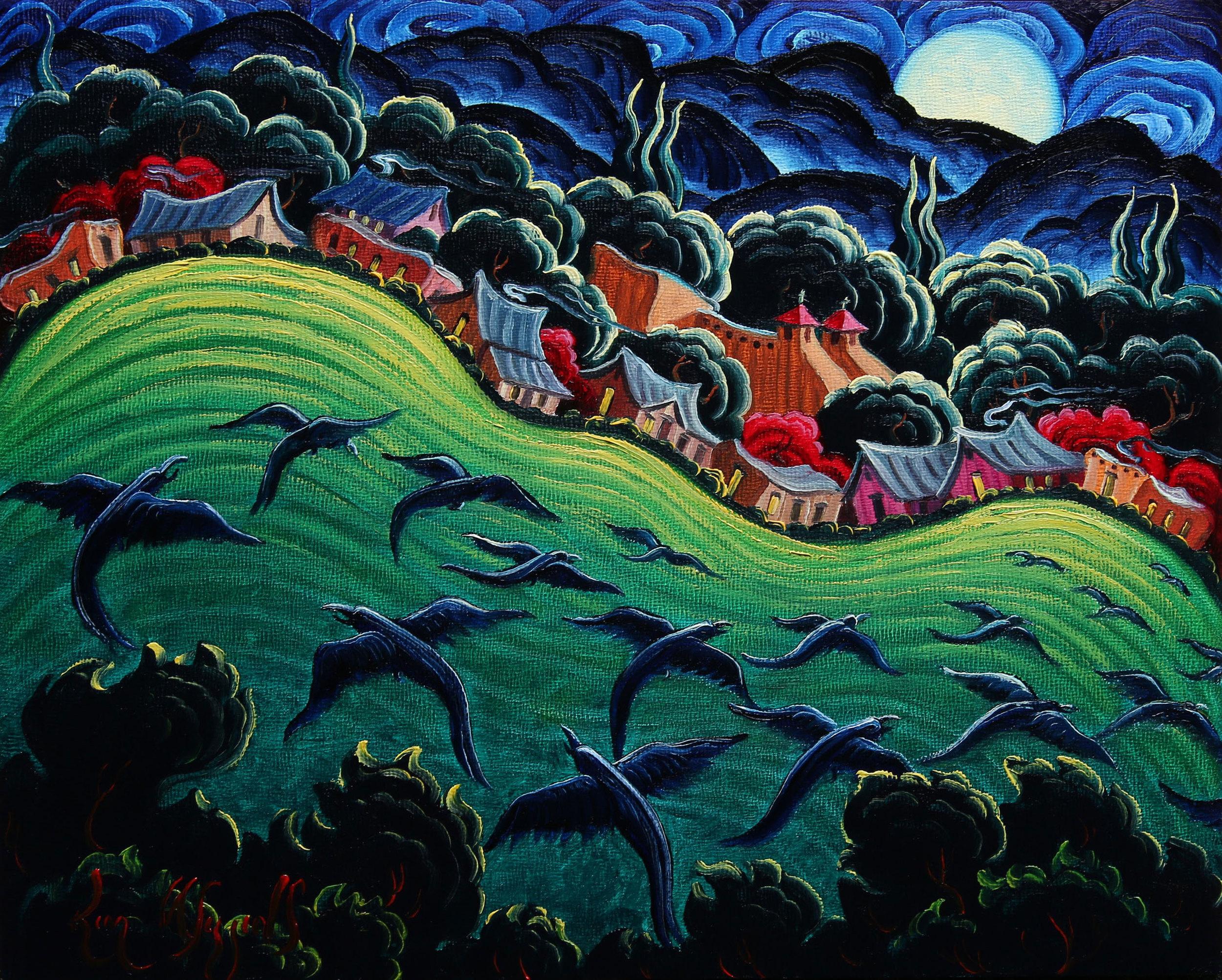 "(SOLD) Kim Wiggins ""Rising Moon at Taos"" 8″x10″ Oil"