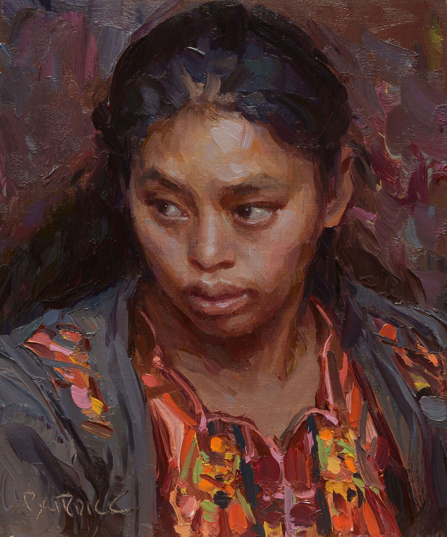 "Scott Burdick ""Guatemalan Portrait"" 10″x8″ Oil"