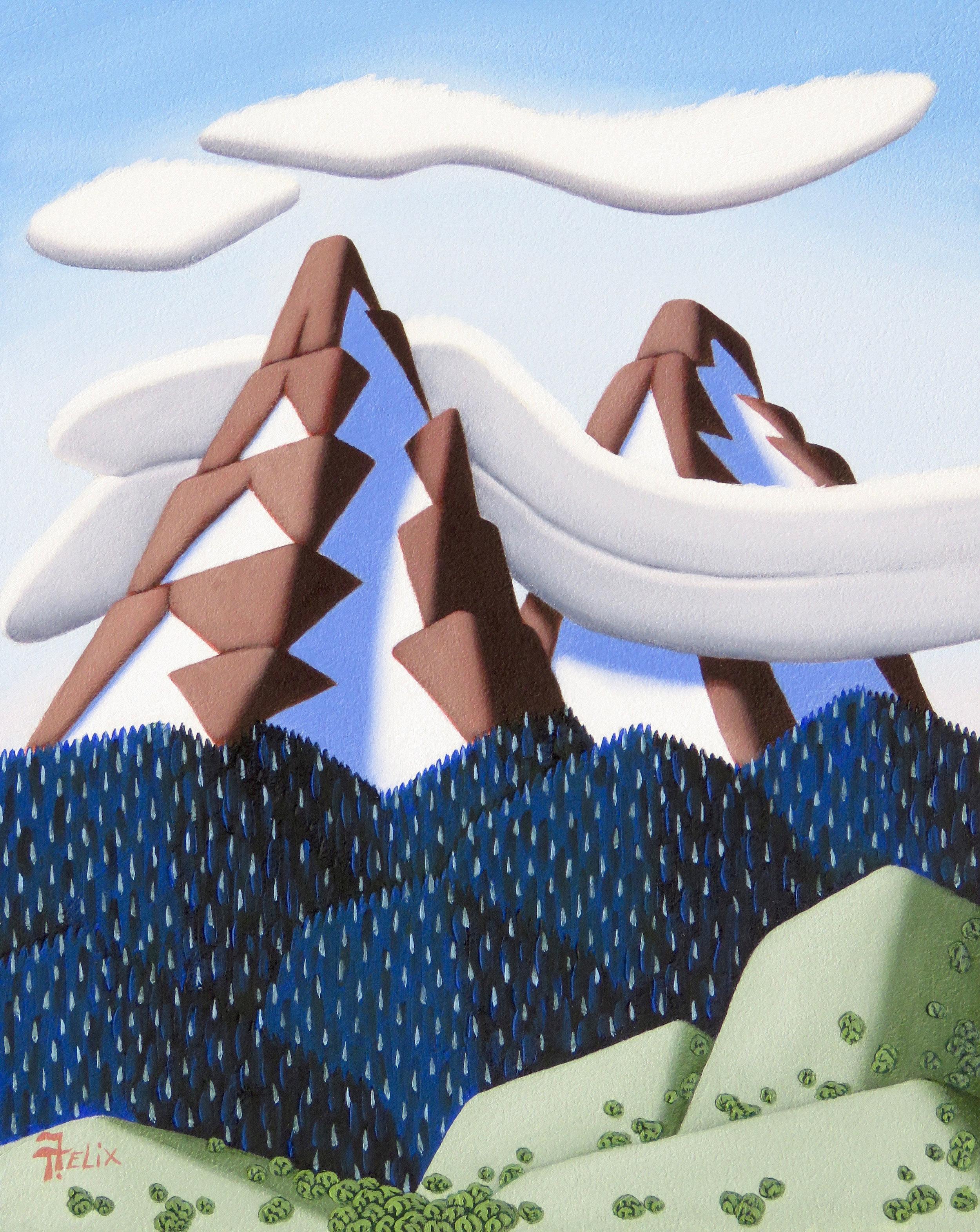 """Tracy Felix """"Twin Peaks"""" 10″x8″ Oil"""