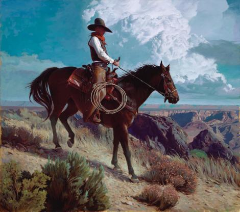 """A Rocky Slope   Oil  30""""x34""""   """"This painting was me trying to be more graphic with the character designs. I've been inspired by Winsor McKay for a long time, and I realize that, when I sketch cowboys in pencil, you can see some of his influence. But, when I paint, it disappears, because my style is realistic. In this painting I tried to give the cowboy a more designed aspect."""""""