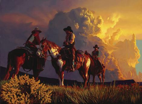 """Inseparable  Oil  20.5""""x28""""   """"Cowboys and horses are inseparable. Deep in the wilderness, they are always together, and around them the immensity of the sky and the clouds is dancing constantly."""""""