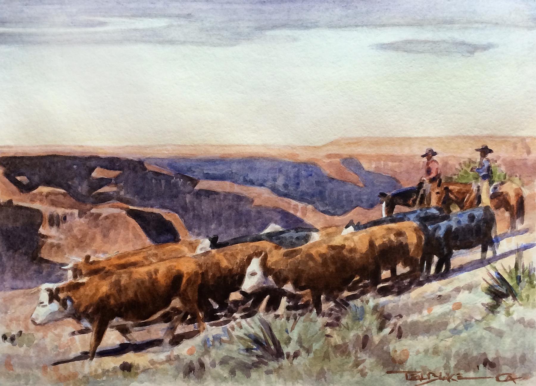 "Teal Blake ""Riding the Rim"" 10.25"" x 14.5"" Watercolor"