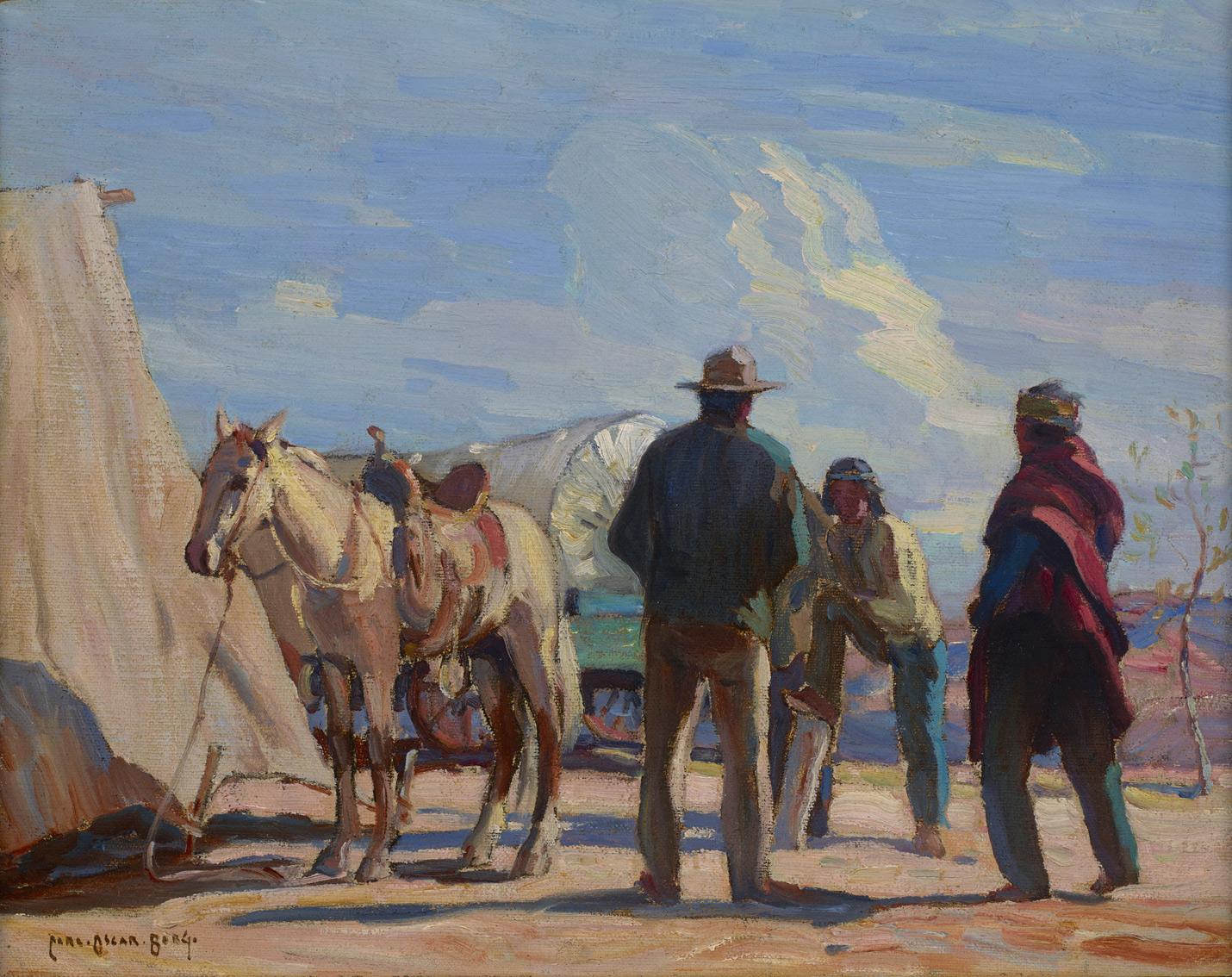 "(SOLD) Carl Oscar Borg ""Desert Meeting"" 16""x20"" Oil (Circa 1935-45)"
