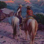 """Mark Maggiori,      """"Secret Talk at Sunset""""    oil, 30 x 24."""