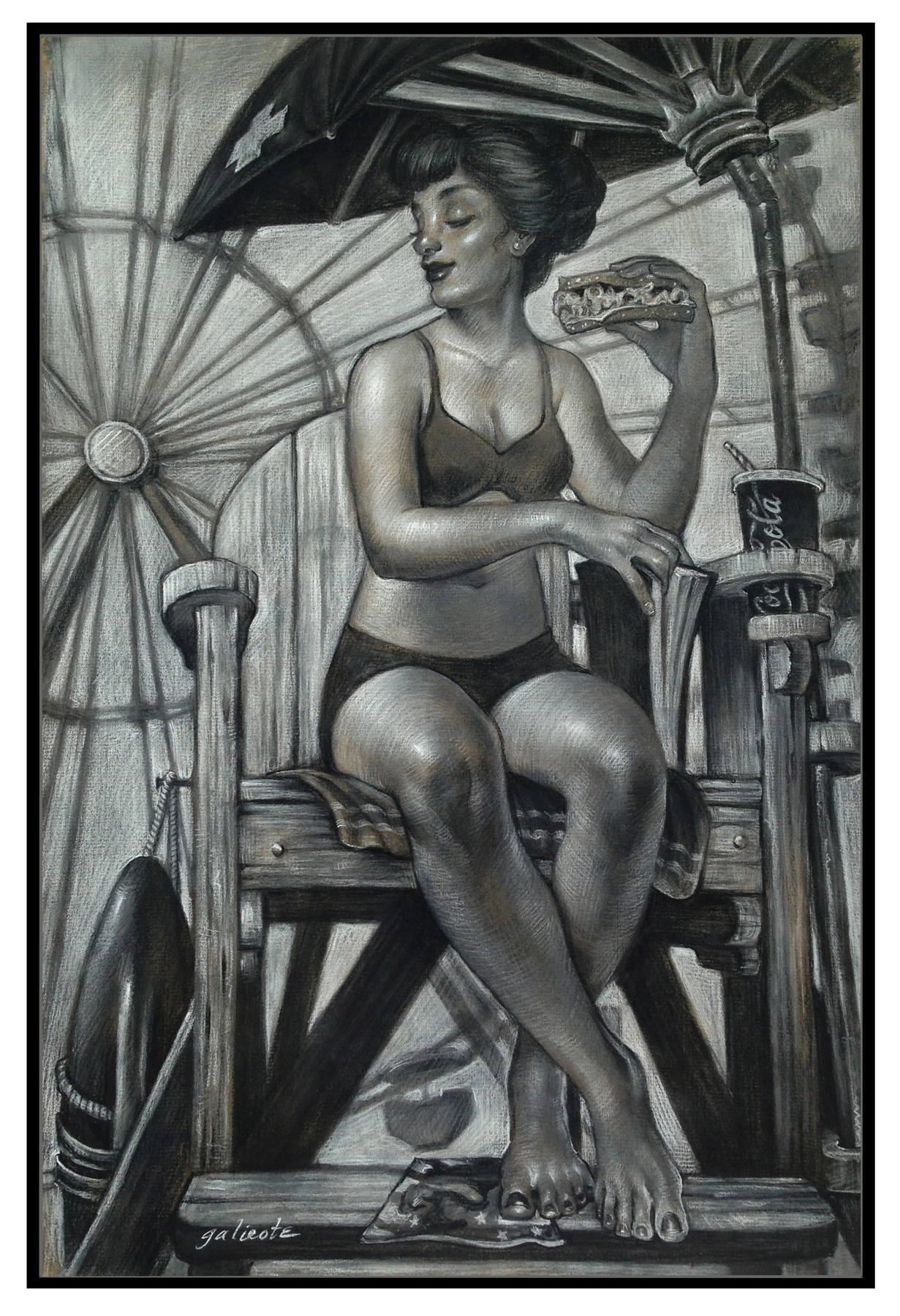 """(SOLD) """"Rosie's Lunchbreak (Study)"""" 18""""x12"""" Conte' and Carbothello Pencil"""