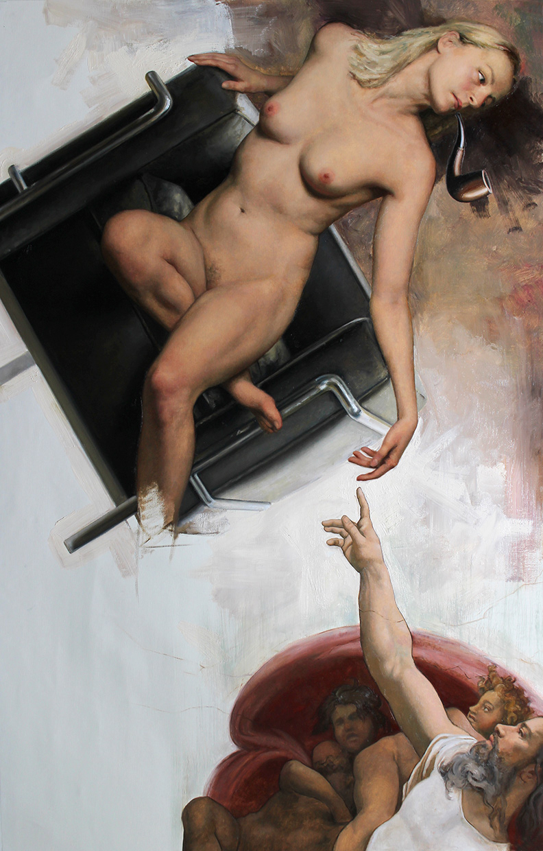 "Cesar Santos ""Re-Creation"" 53""x34"" Oil"