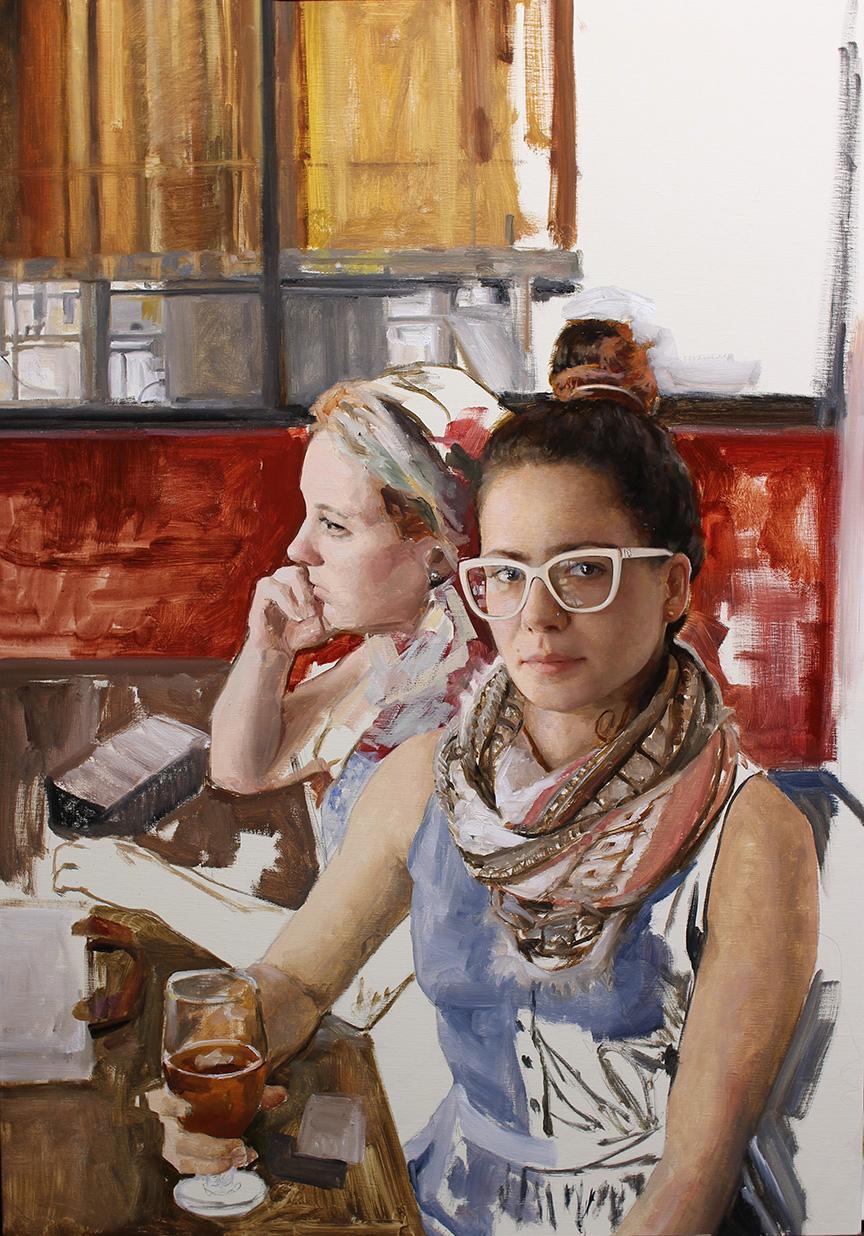 """(SOLD) Cesar Santos """"The Artist's Wife"""" 36""""x25"""" Oil"""
