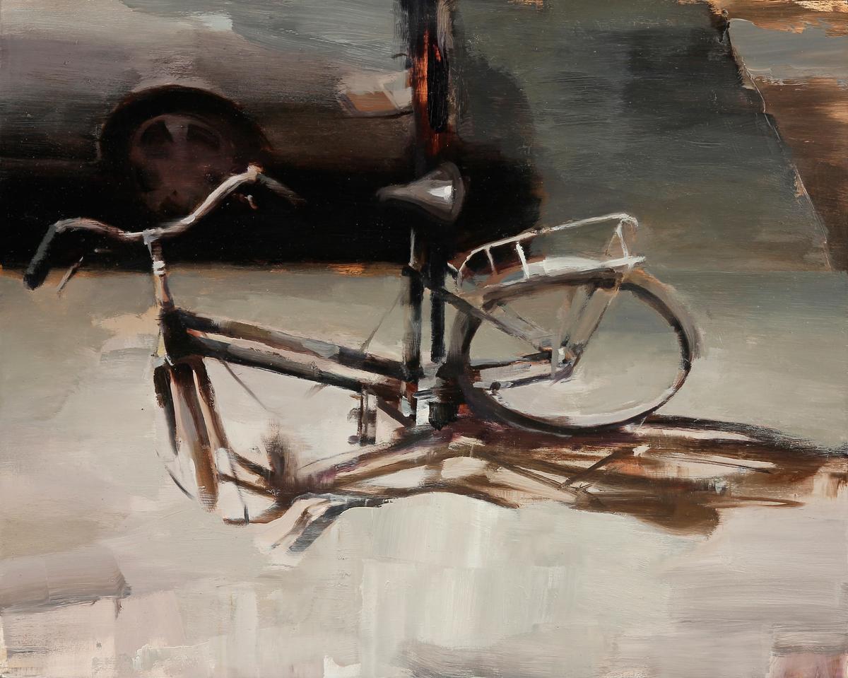 """Kim Cogan """"Bent Bicycle"""" 16""""x20"""" Oil"""