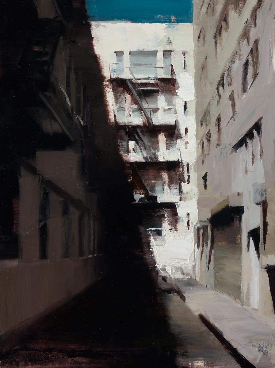"(SOLD) Kim Cogan ""Shadows of an Alley"" 16""x12"" Oil"