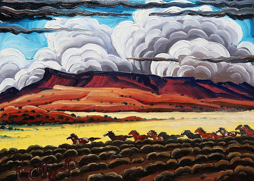 "Kim Wiggins ""Wild Horses In The Canyonlands"" 5""x7"" Oil"