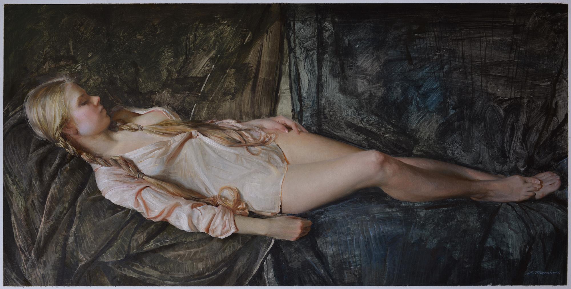 "(SOLD) Serge Marshennikov ""Short Rest"" 15""x30"" Oil on Paper"