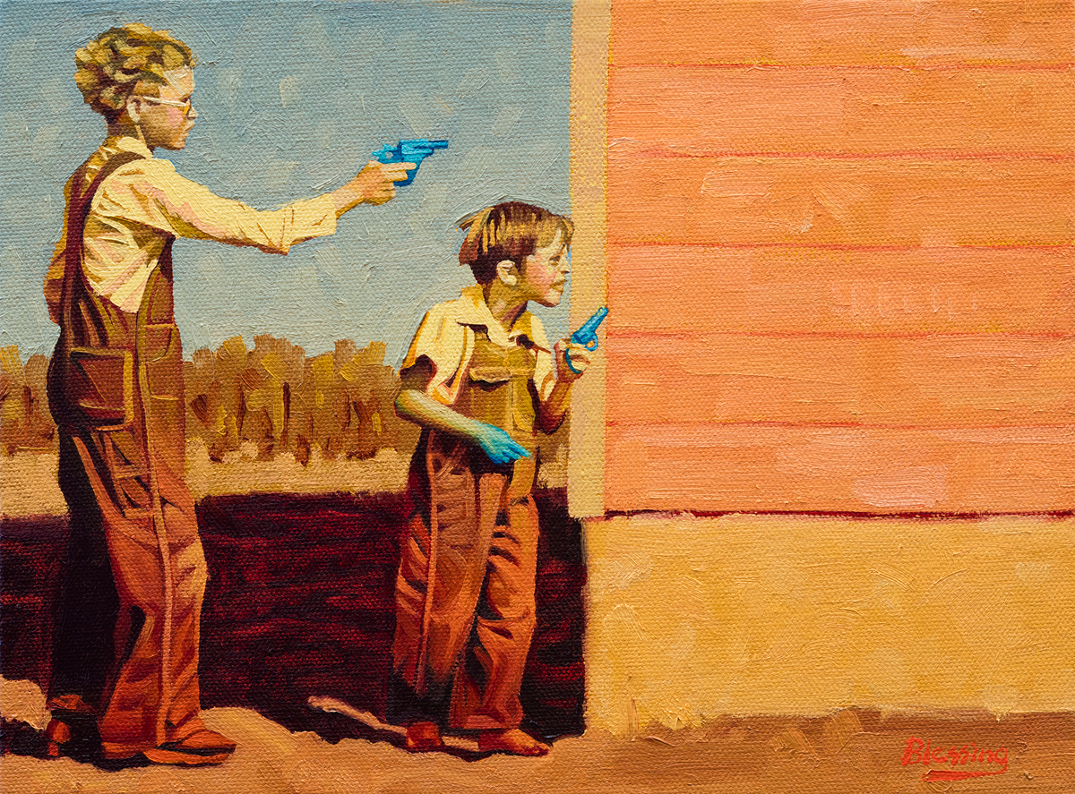"(SOLD) Michael Blessing ""Shootout at the OK Corral"" (left) 9""x12"" Oil"