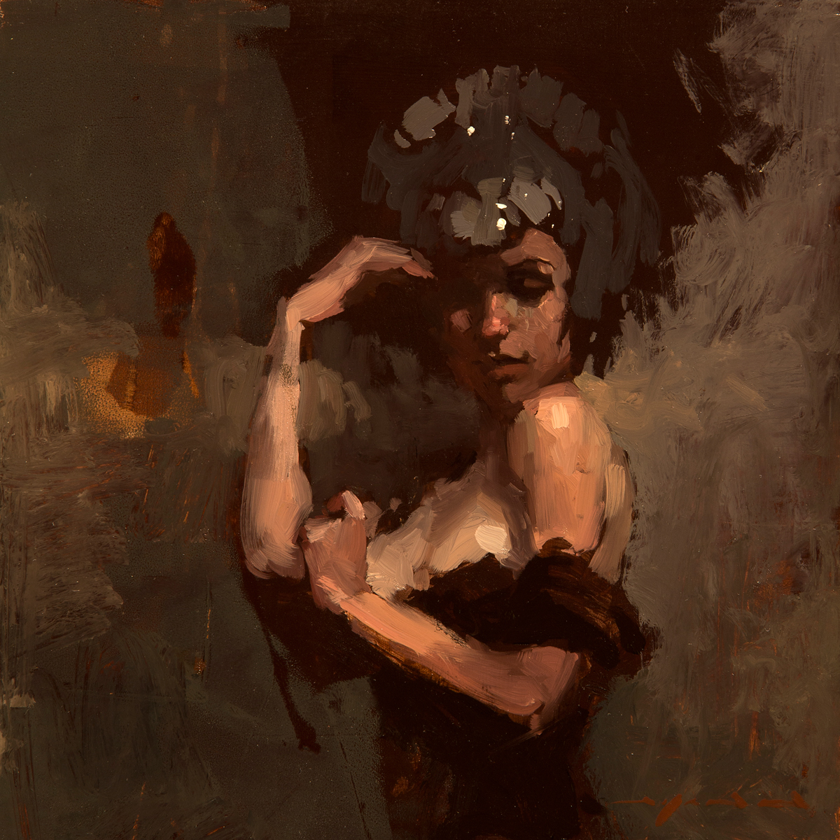 """(SOLD) """"Figure Composed Form Study 16"""" 6""""x6"""" Oil"""