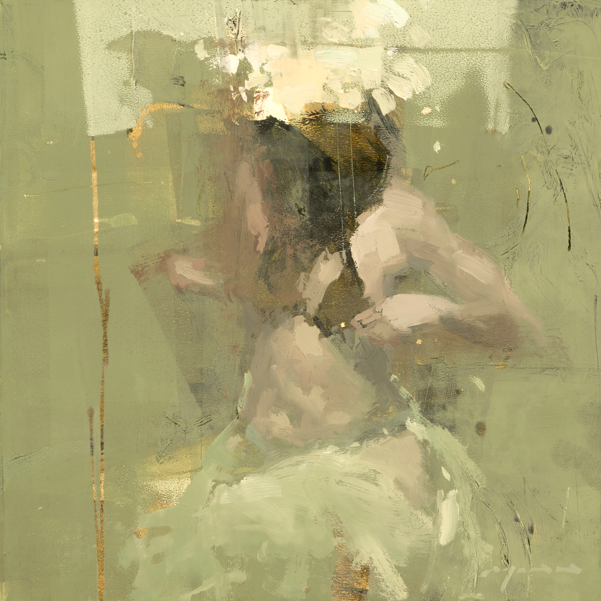 """""""Figure Composed Form Study 22"""" 6""""x6"""" Oil"""