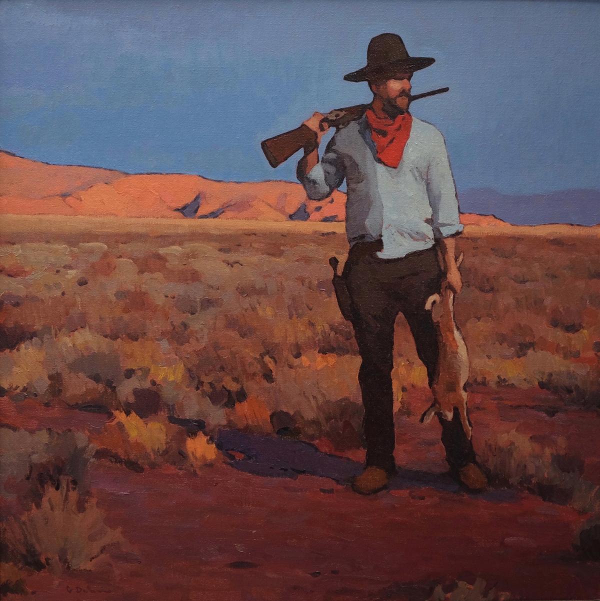 """Glenn Dean """"The Rabbit Hunter"""" 30""""x30"""" Oil"""