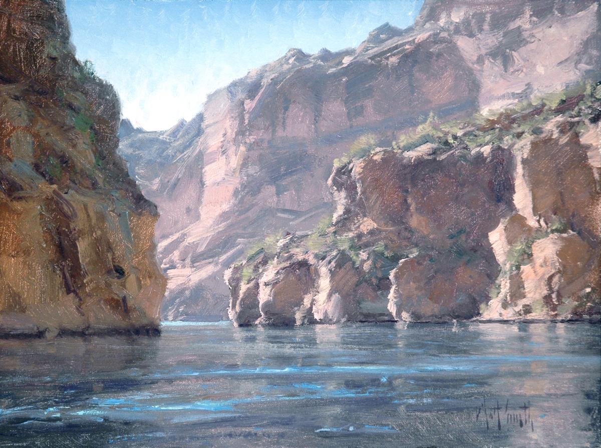 """Matt Smith """"Canyon Lake Cliffs"""" 12""""x16"""" Oil"""