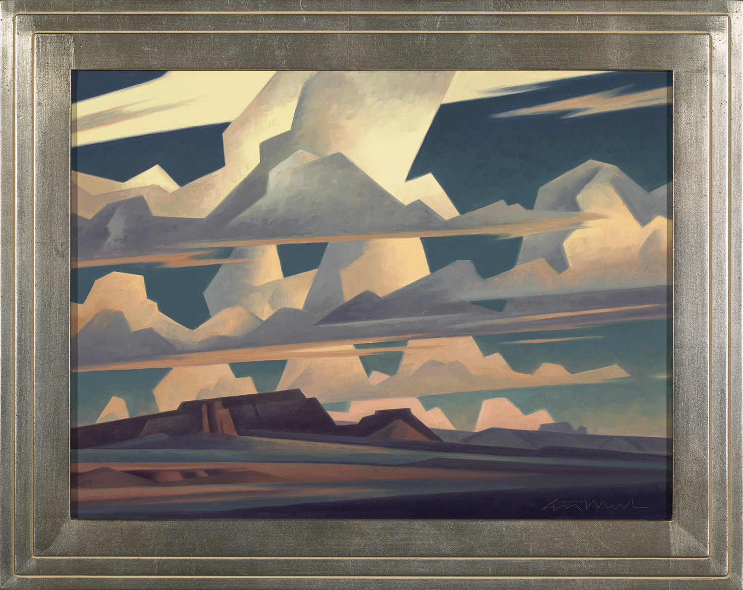 """(SOLD) Ed Mell """"Lines of Clouds"""" Oil 18"""" x 24"""""""