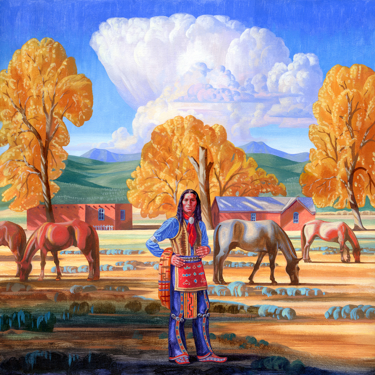 """Bryan Haynes """"Adobe in the Cottonwoods"""" 20""""x20"""" Oil"""
