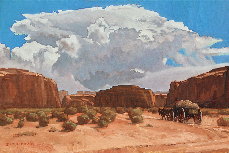 """Dennis Ziemienski """"Summer Thunderhead Monument Valley"""" 20""""x30"""" Oil"""