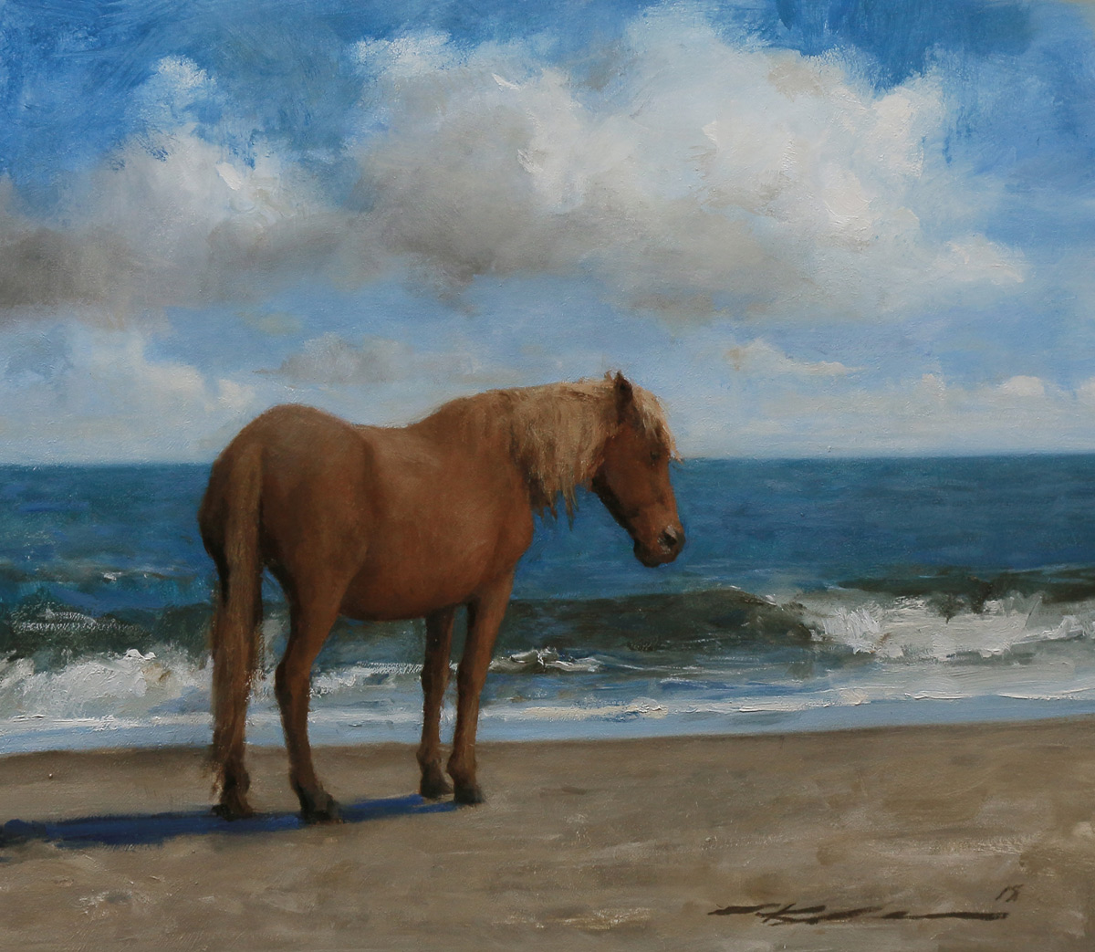 "Michael Klein ""Spanish Mustang"" 13.5""x15"" Oil"