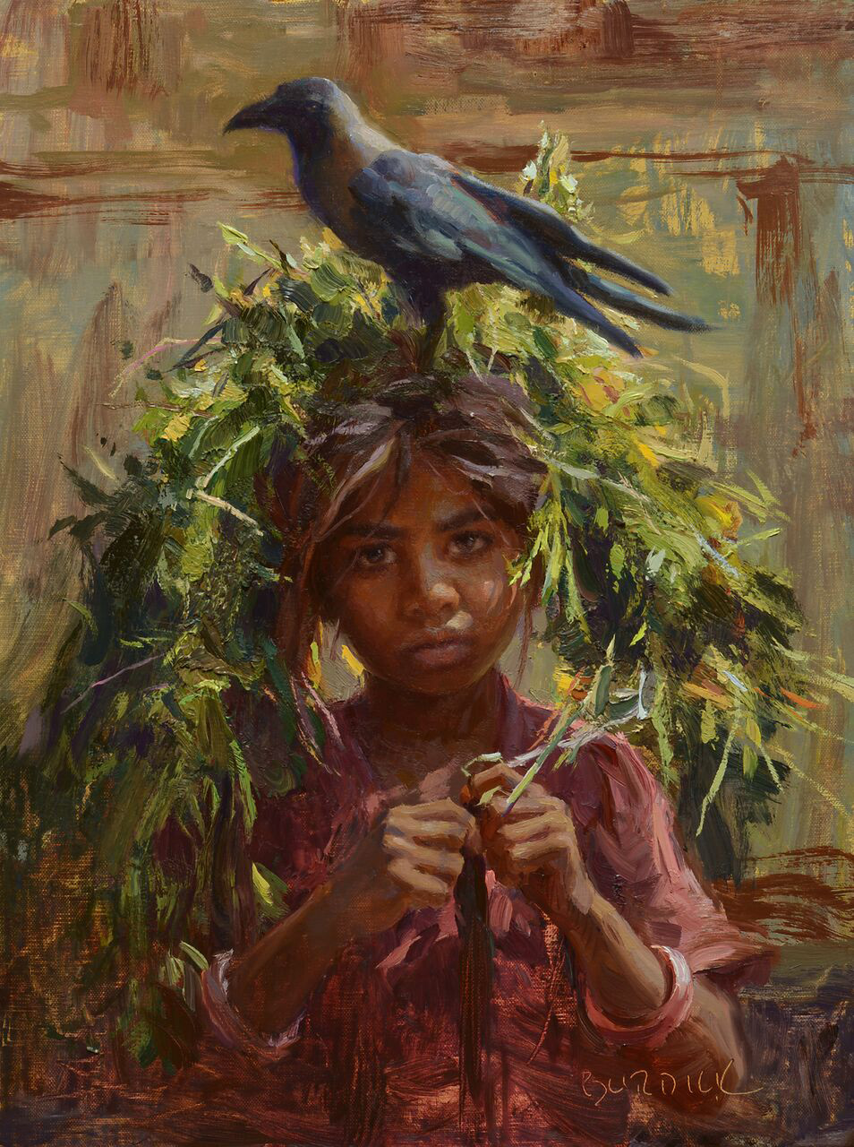 "(SOLD) Scott Burdick ""Girl With Crow"" 16""x12"" Oil"
