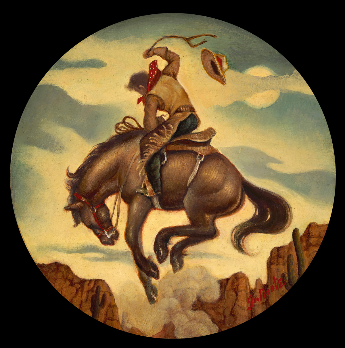 """(SOLD) Danny Galieote """"Bronc Moon"""" 8"""" Round Oil"""