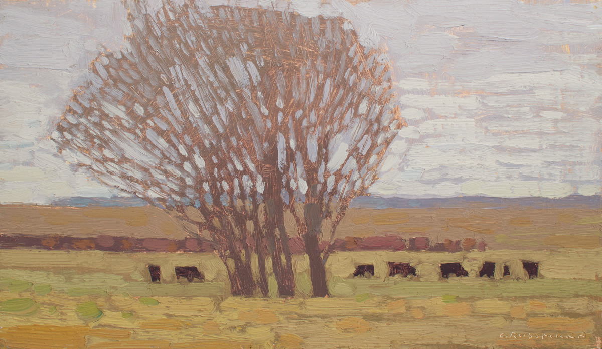 """(SOLD) David Grossmann """"Early Spring Pasture"""" 7""""x12"""" Oil"""