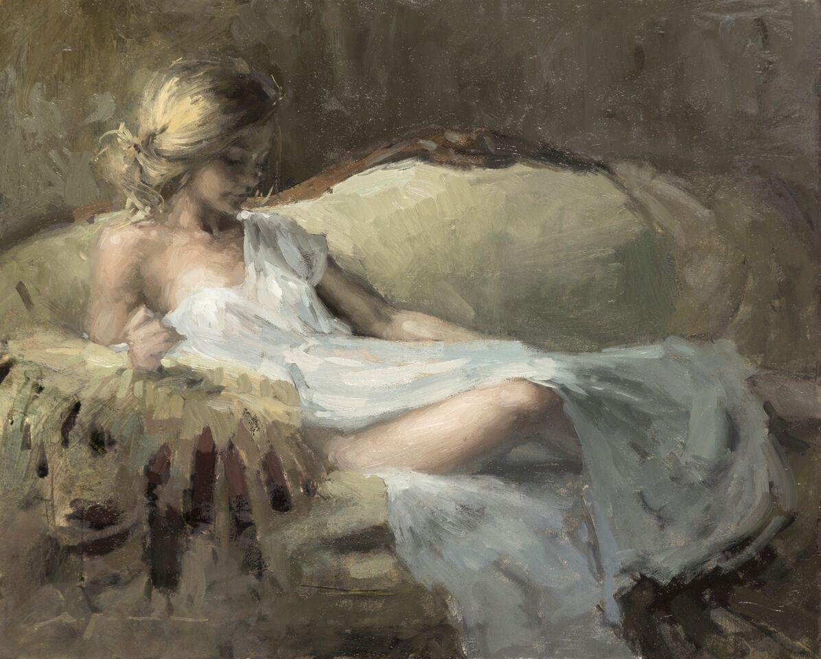 """(SOLD) Jeremy Mann """"Window Light Study in Garden Room"""" 8""""x10"""" Oil"""