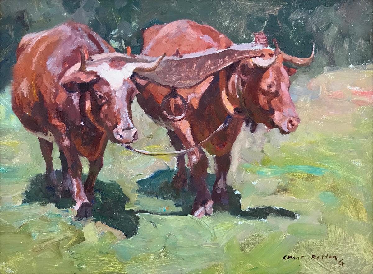 "Grant Redden ""Oxen"" 9""x12"" Oil"