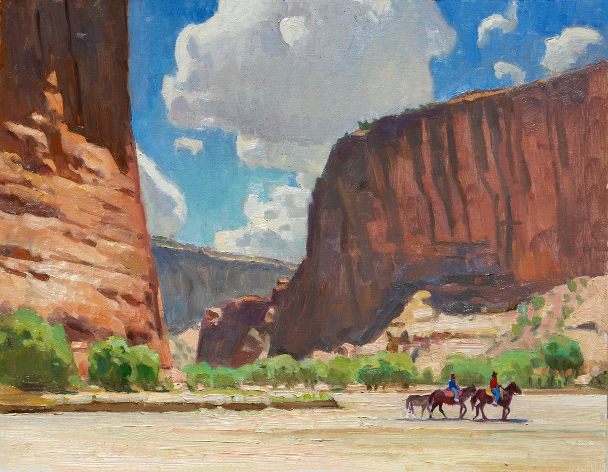 """Ray Roberts """"Canyon Riders"""" 12""""x16"""" Oil"""