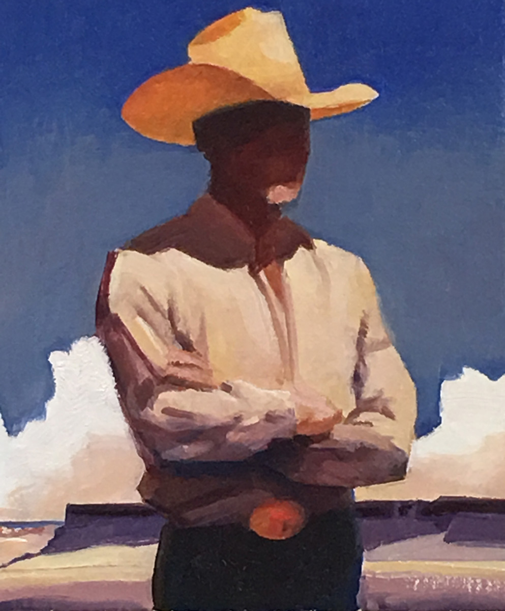"""(SOLD) Gary Ernest Smith """"Man Of The West"""" 12""""x10"""" Oil"""